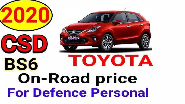 CSD Car Price List 2020 Toyota BS6