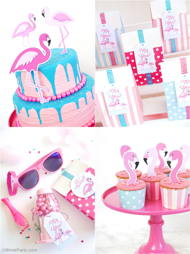 Flamingo Pool Party Birthday DIY Decorations and Printables - BirdsParty.com
