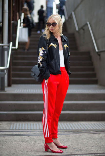 athleisure street style, track pants street style
