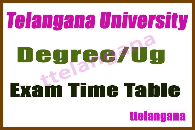 Telangana University UG Exam 1st 2nd 3rd  Time Table