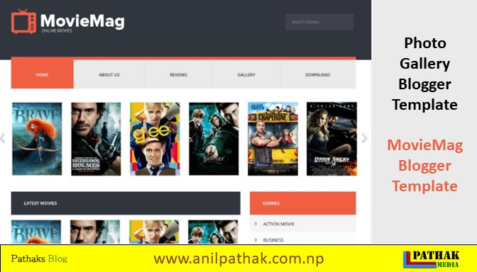 Photo Gallery Blogger Template - MovieMag Blogger Template