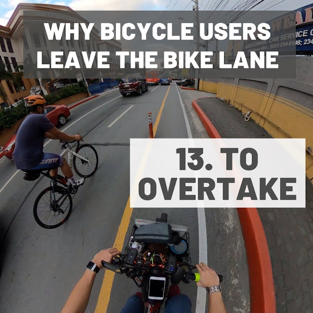 biker overtaking another bike commuter in bicycle lane