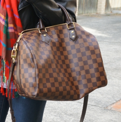 Louis Vuitton Damier Ebene 30 speedy bandouliere single initial monogram