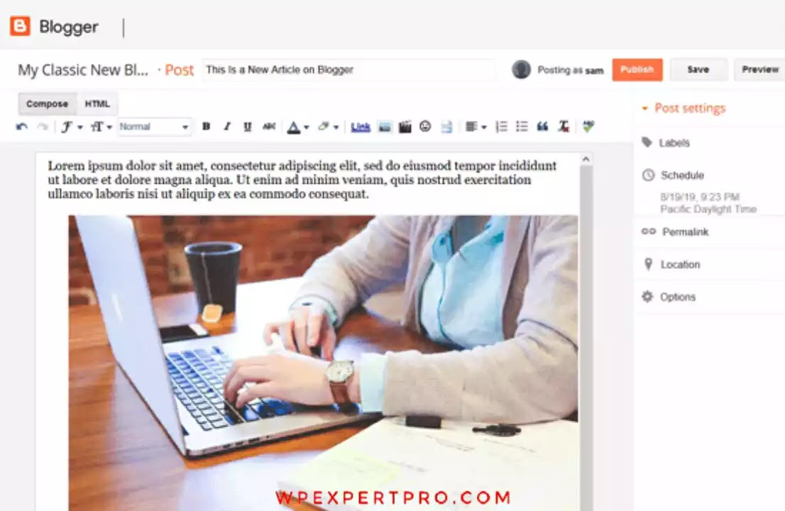 Create article in blogger