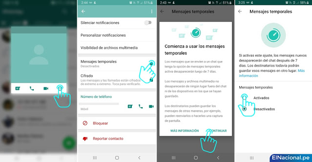 WhatsApp: cómo activar los mensajes temporales, versión celular y web