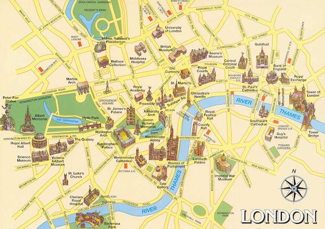 mapa atrações turísticas de londres