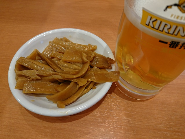 日高屋 勝田台南口店 中華風味付けメンマ ビール