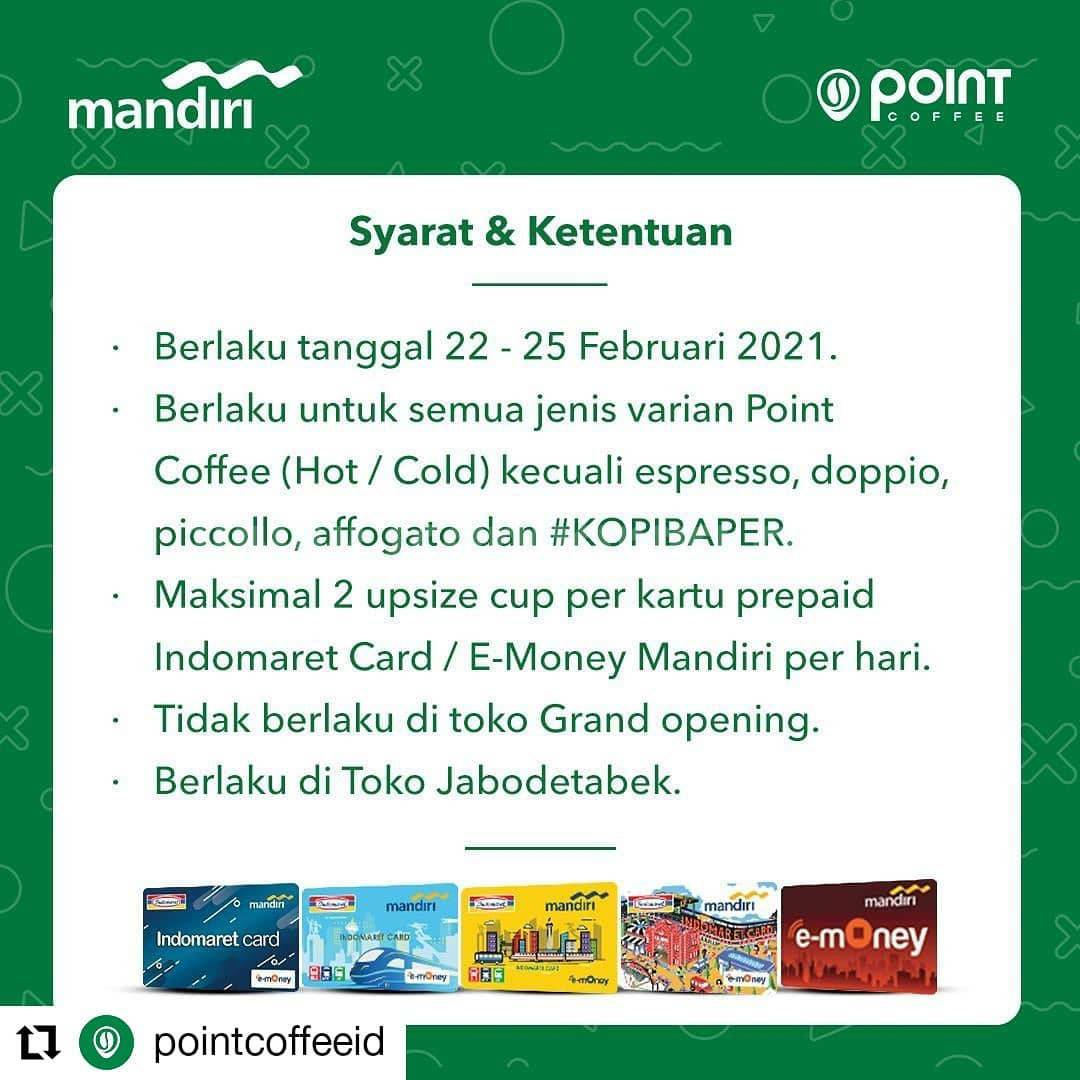 POINT COFFEE Promo Free Upsize! dengan Prepaid Indomaret Kartu E-Money Mandiri