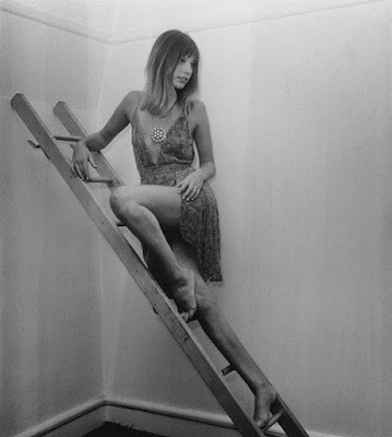 Jane Birkin on a ladder