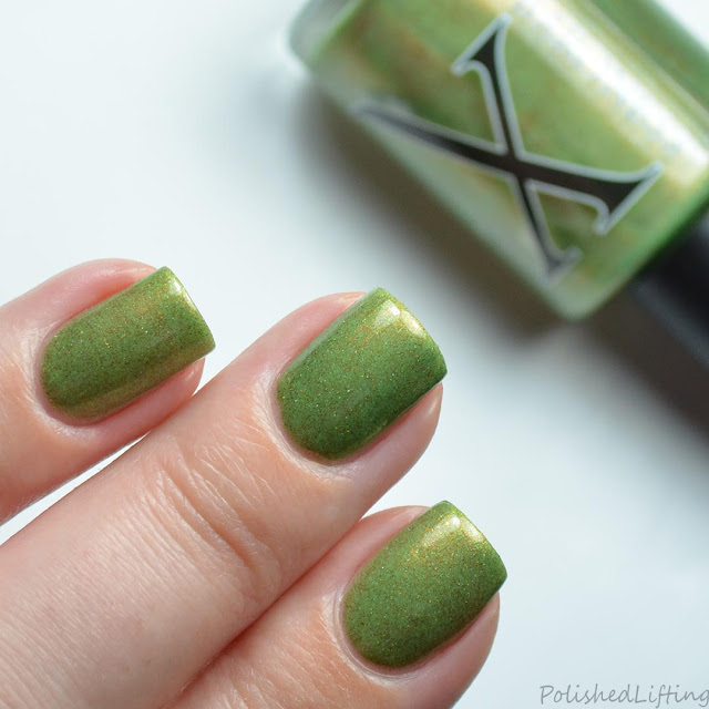 green nail polish gold shimmer