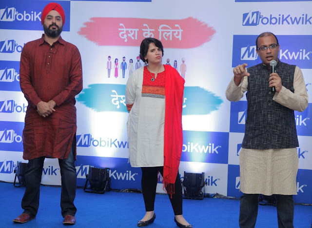 (L -R ) Bipin Preet Singh (Founder & Director), Upasana Taku (Co-Founder), Mrinal Sinha(Chief Operating Officer) MobiKwik  at the launch of MobiKwik lite-min