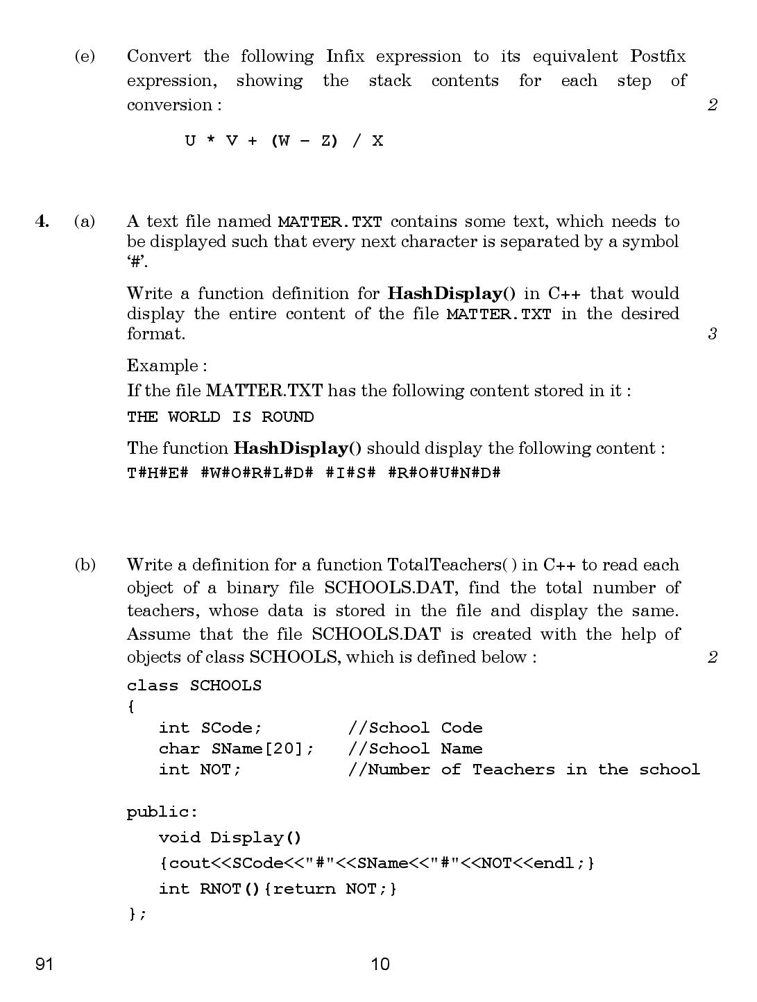Computer Science 2018 Question Paper Page-10