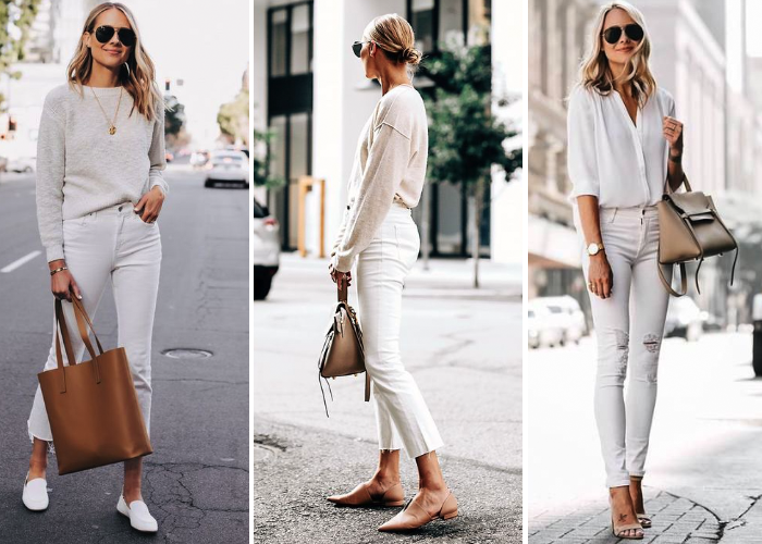 white jeans white sweater tan tote