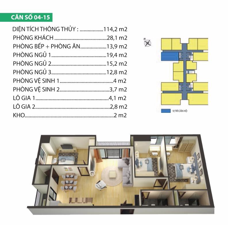 Thiết kế căn hộ 04-15 Housinco Premium