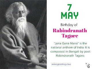 Rabindranath Thakur birthday 7 May 1861 Calcutta, British India