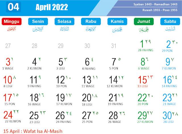 Kalender April 2022 - Kanalmu