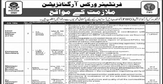Latest Frontier Works Organization (FWO) Jobs September 2020 for Multiple Positions Apply Online Now