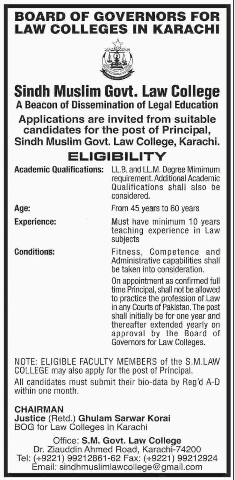 Jobs in  Sindh Muslim Govt Law College  2017 Sep 2017