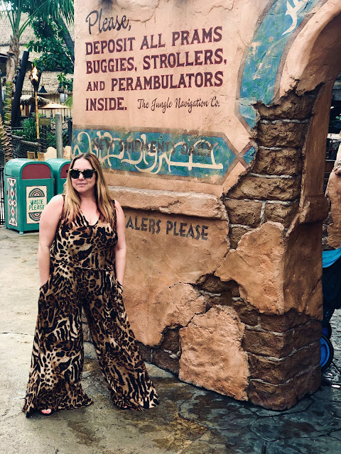 Nuuly, clothing rental, subscription box, fashion, Coldesina Designs Abi Wide-Leg Jumpsuit, leopard print, Disney bound, Adventureland, Disneyland