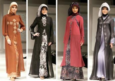 gaun pesta muslimah modern sifon dan taff