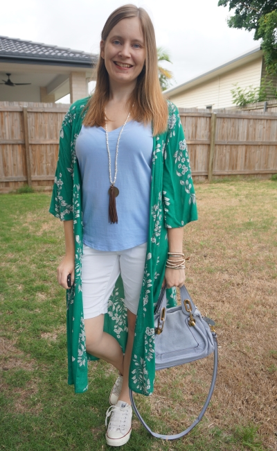 baby blue and white bermuda shorts tee outfit with green floral duster kimono | awayfromblue