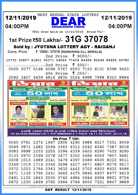 Lottery sambad 12-11-2019 West Bengal State Lottery Result 04.00 PM-sambadlottery.org