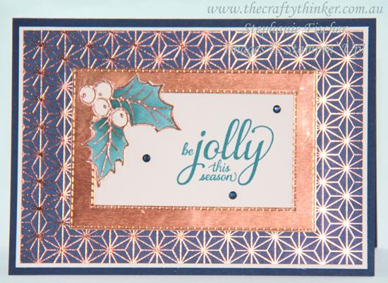 #thecraftythinker  #stampinup  #cardmaking  #christmascard  #holly #christmasgleaming , Christmas Gleaming Suite, Christmas Card, Stampin' Up Demonstrator, Stephanie Fischer, Sydney NSW