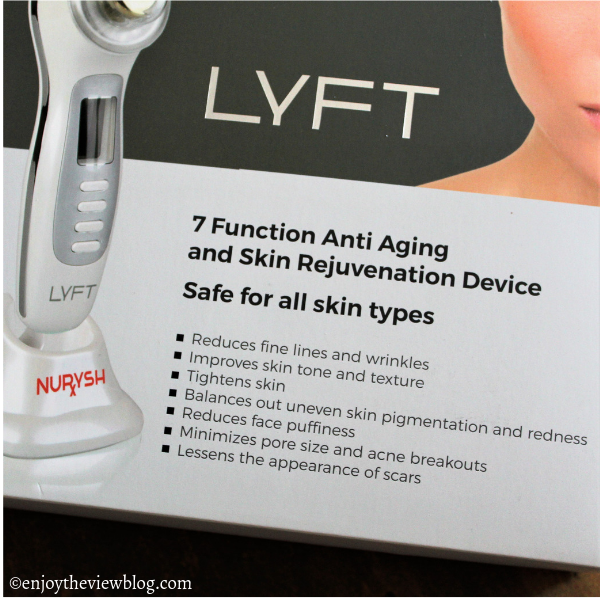 Lid of the LYFT 2.o Skin Rejuvenation Device box listing the benefits it offers.