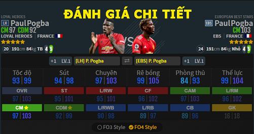 FIFA ONLINE 4   Review so sánh tiền vệ Paul Pogba giữa mùa thẻ EBS và LH