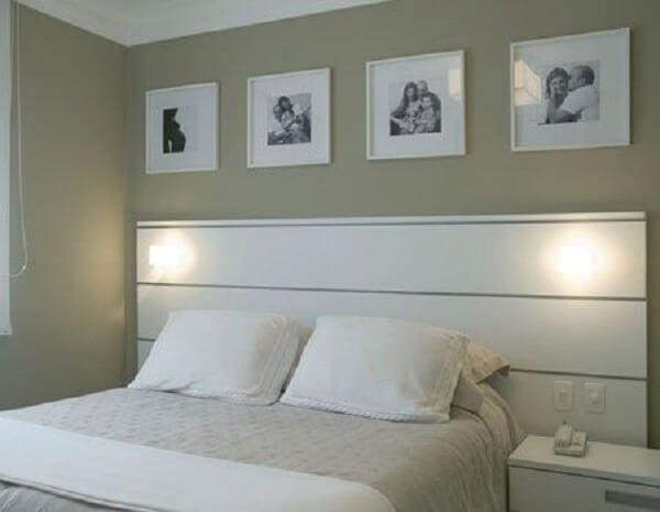 Photo frame above the double bed