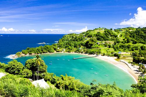 Vue aérienne d'une baie à Tobago