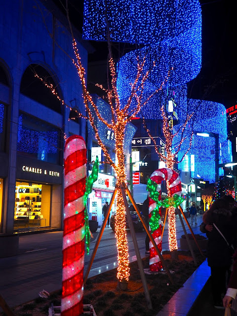Christmas lights display with overhead banner, trees and candy canes in Nampo, Busan, South Korea
