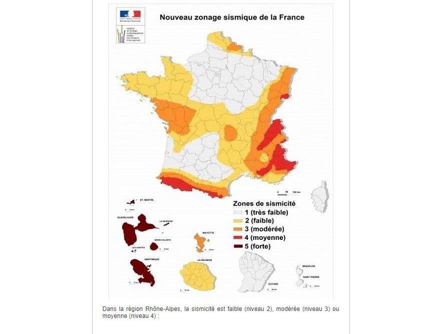 Zone de sismicité à Lyon