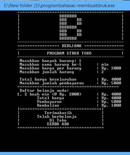 Program Menggunakan Bahasa C: Program Menghitung Transaksi Kasir ...