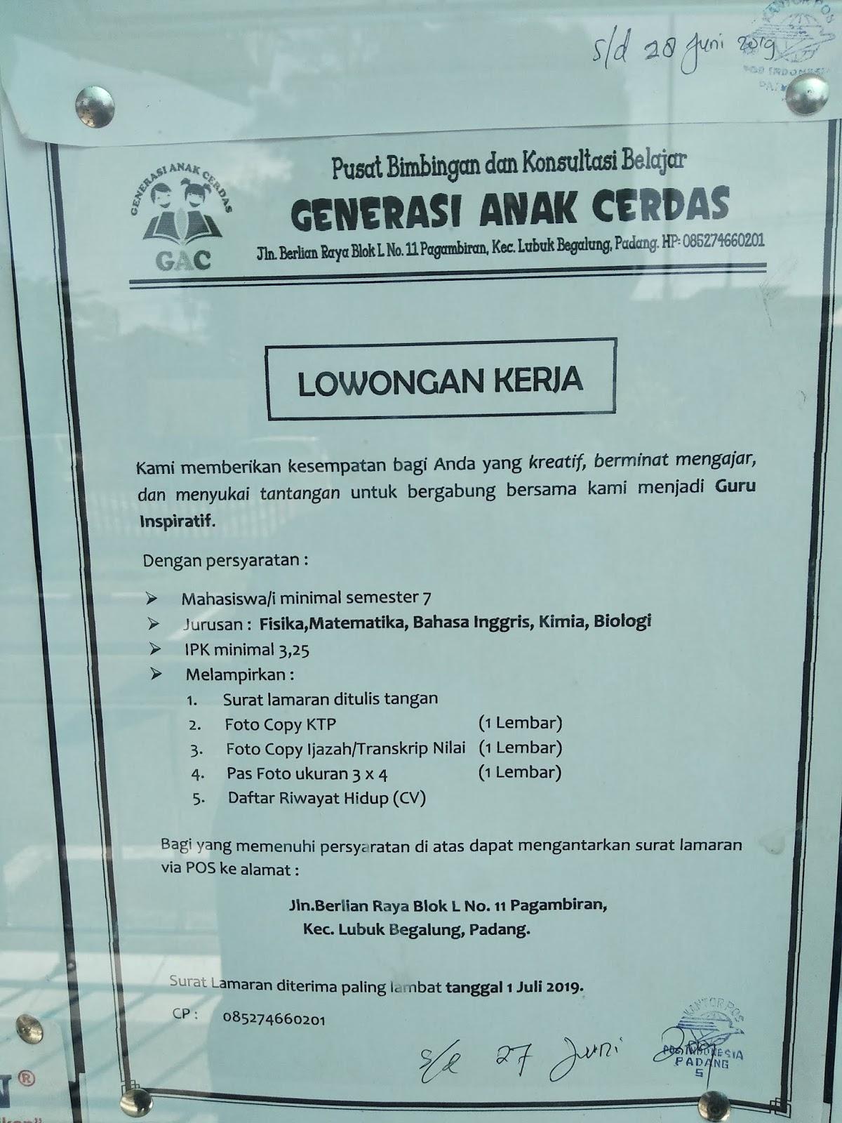Lowongan Kerja Guru Fisika Matematika Bahasa Inggris Kimia Dan Biologi Di Sumatera Barat Adsanjaya