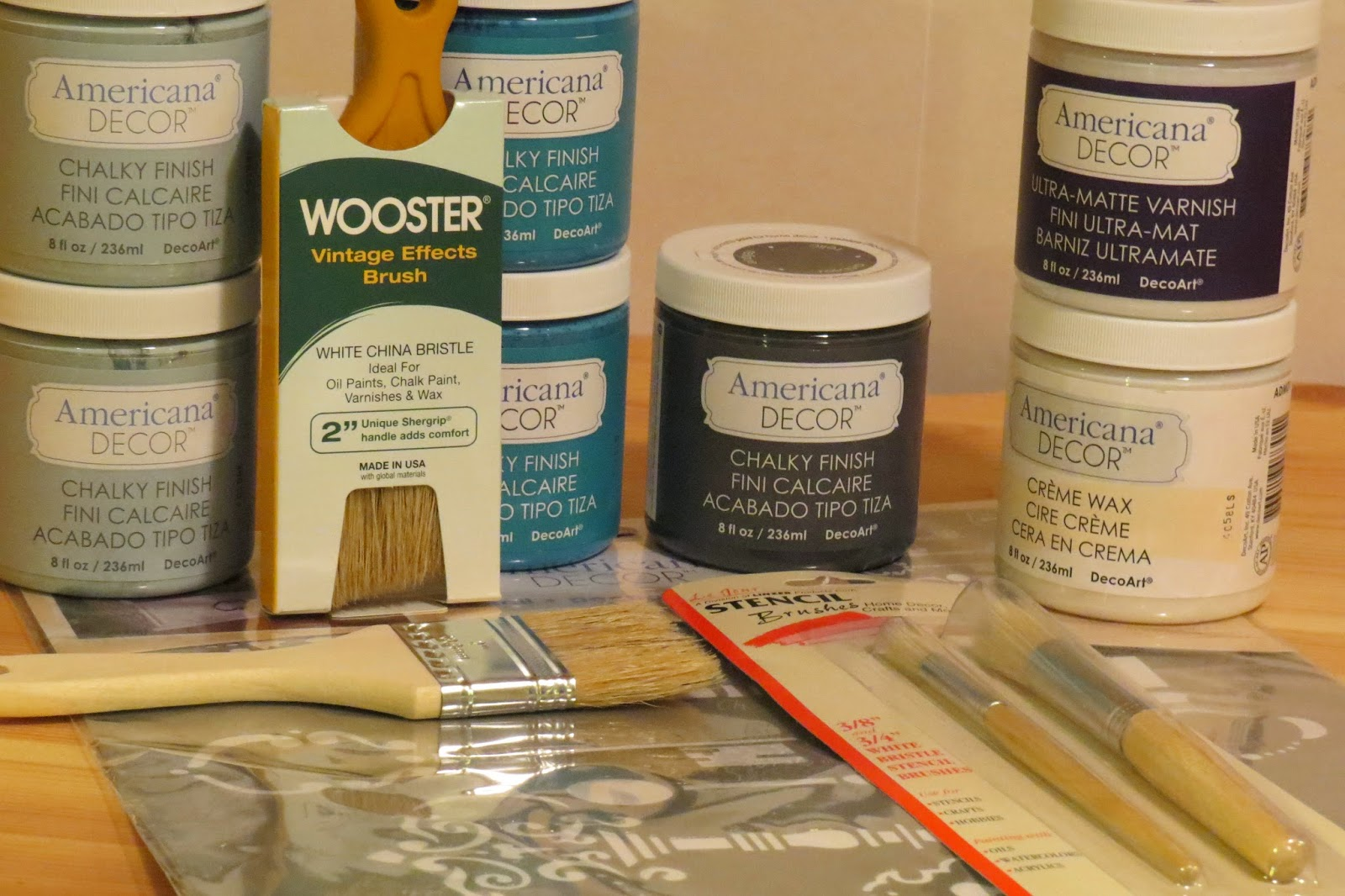Americana Decor Chalky Paint, DeocArt Supplies, Wooster Paint brush, Stencil from DecoArt