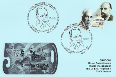 Tarjeta con matasellos del sello de Severo Ochoa 2016