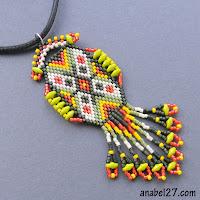 яркий этнический кулон из бисера купить подарок на 8 марта этно бижутерия