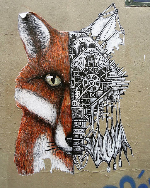 Art by Ardif, mechanimal, portrait, renard, symétrie, collage, streetart, art urbain, animaux, dessin, steampunk, paris