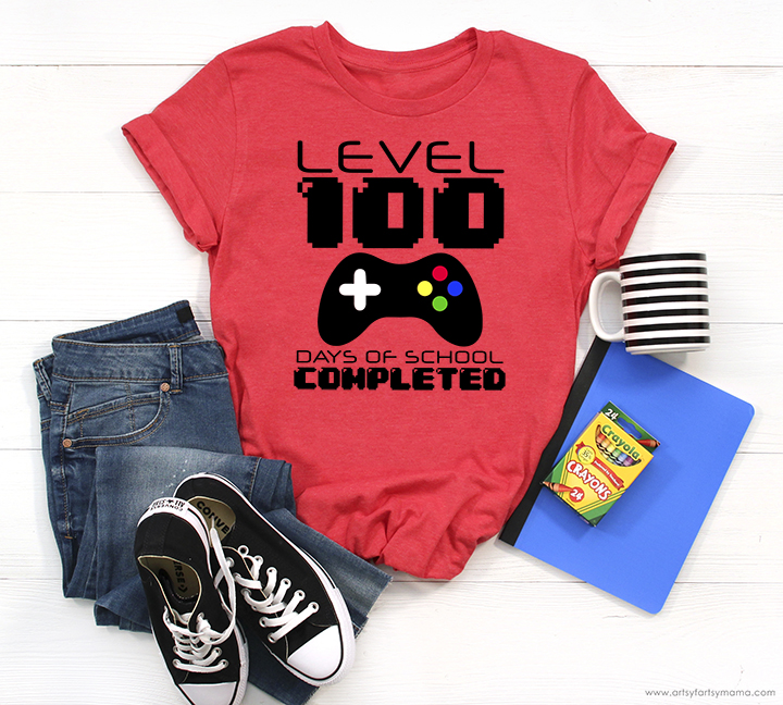 Level 100 Days of School Shirt with 8 Free Cut Files