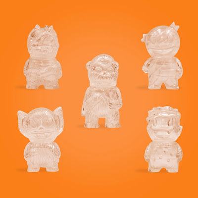Mummy Boy, Wing Kong, Rose Vampire, Bat Boy & Caveman Dino Clear Micro Vinyl Figures by Super7