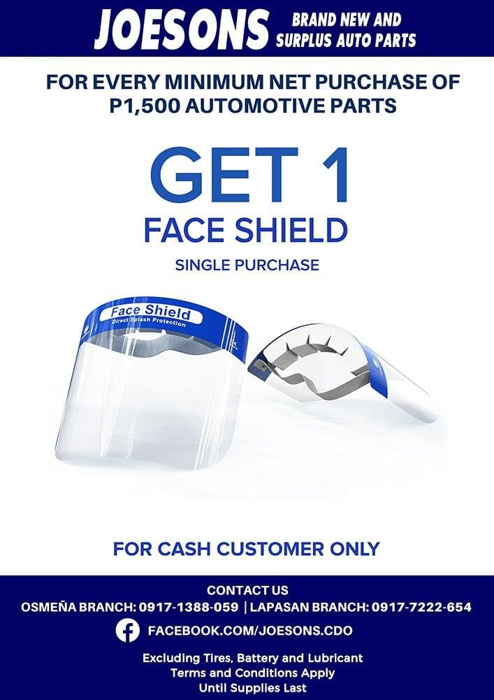 Joesons Autoparts FREE FACESHIELD Promo!