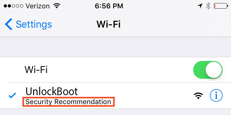 wifi security recommendation on iphone