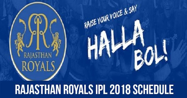 Rajasthan Royals (RR) IPL 2018 Schedule