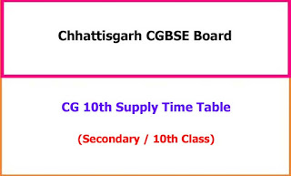 CGBSE 12th Supplementary Exam Time Table 2021