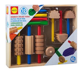 wooden toys for toddlers - playdough tools
