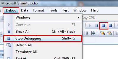 Visual studio Stop debugging