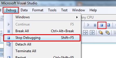 Visual studio Stop debugging
