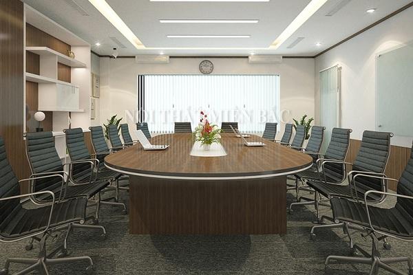 Thiết kế nội thất phòng họp đẹp bạn hãy căn cứ vào độ rộng hẹp của không gian để sắp xếp tạo hình, kích thước, số lượng  nội thất sử dụng trong văn phòng