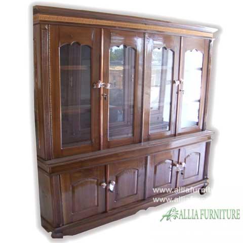 lemari kaca pajangan kayu jati 4 pintu
